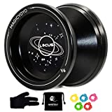 MAGICYOYO Responsive V6 Locus Aluminum YoYo Star Logo for Kids Beginner Learner with Yoyo Bag, Yoyo Glove and 5 Spinning Strings -Black