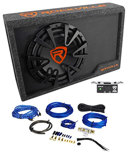 "Rockville RWS12CA Slim 1200 Watt 12"" Powered Car Subwoofer Enclosure + Wire Kit"