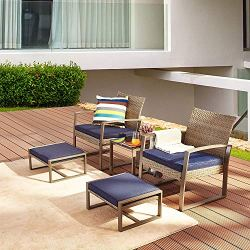 LOKATSE HOME 5-Piece Wicker Outdoor Conversation Set Patio Furniture PE Rattan All Weather Cushioned Chairs Balcony…