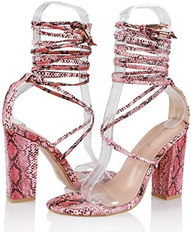 JSUN7 Women's Fashion Lace Wrap Open Round Toe Summer Chunky Block Elegant Heel Sandal Pump Shoe 5