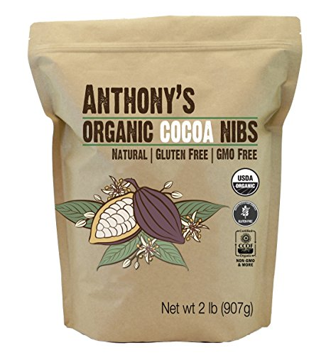 Organic Cacao/Cocoa Nibs, 2 Pounds by Anthony's, Batch Tested and Verified Gluten-Free (32 ounces)