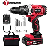 20V Max Lithium-Ion Cordless Hammer Drill/Driver, 1/2' Keyless Chuck, Max Torque 405 in-lbs,2-Speed, 1 Hour Fast Charger, 20+1 Position, LED Light, 25pcs Accessories, MW326H
