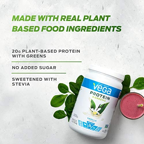 Vega Protein and Greens Vanilla (25 Servings, 26.8 Ounce) - Vegan Plant Based Protein Powder Shake, Gluten Free, Non Dairy, Non Soy, Non GMO 3