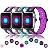 Haveda Sport Bands Compatible for A P p L e Watch 42mm/44mm, Breathable Silicone Wristband for Apple 4 Watch, iWatch Series 4/3/2/1,Women Men Kids 42mm/44mm S/M Blue/Pink, Grey/Teal, Black/Magenta