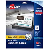 Avery Printable Business Cards, Inkjet Printers, 90 Cards, 2 x 3.5, Clean Edge, Heavyweight (28878)