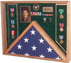 Military Veteran Soldier Flag & Medal Display Case