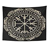 "Emvency Tapestry Mandala 60""x80"" Home Decor Black Celtic Viking Magical Runic Compass Vegvisir in The Circle of Norse Runes Tapestries Bedroom Living Room Dorm"