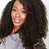 Vogue Queen Afro Kinky Curly 360 Full Lace Band Frontal Wig 180% High Density Pre Plucked Natural Hairline with Baby Hair 4B 4C (16 inches, Afro Kinky Curly 4B 4C,360 Wig)