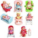 Set Of 8 Assorted 5' Mini Dolls, High Chair, Stroller, Crib, Car Seat, Bath, Potty, Swing,