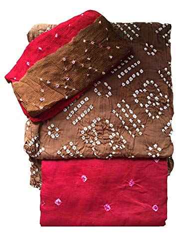 women's jaipuri bhandhani cotton silk suit dress material