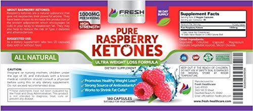 Pure 100% Raspberry Ketones Max 1000mg Per Serving - 3 Month Supply - Powerful Weight Loss Supplement - Provides Energy Boost for Weight Loss - 180 Capsules by Fresh Healthcare 8