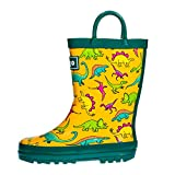 hibigo Toddler Rain Boots for Kids, Waterproof Rubber Rain Boots with Easy-On Handles for Boys and Girls