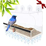 Entirely Zen Superior Window Bird Feeder Has 2 Way Mirror Film Super Strong Suction Cups Upgraded 2019 Design for 100% Clear Wild Bird Viewing, Raised Seed Tray for Fresher Food, Great for All Ages