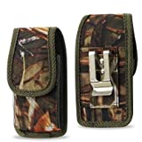 Vertical Camouflage Rugged Canvas Case Pouch for Kyocera Cadence LTE, Heavy Duty
