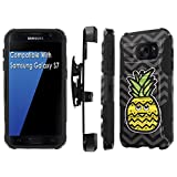 TalkingCase Phone Case for Samsung Galaxy S7,GS7,Black-Black Premium Dual Layer Armor Case,with Holster & Kickstand,Pineapple Head Daydream Print, Designed and Printed in USA
