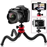 Flexible Tripod for iPhone, 12' Smartphone Tripod + High-Speed Bluetooth Remote for iPhone, Samsung, Compact Gorilla Tripod Stand 360° for GoPro, Cell Phone and DSLR Camera (Tripod)