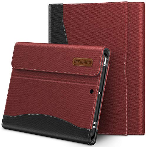 INFILAND iPad Mini 5 Case, Multi-Angle Business Case Cover Pencil Holder with Built in Pocket for Apple iPad Mini 5 7.9-inch 2019 Release (Auto Wake/Sleep), Wine red
