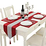 Hangnuo 1383inch Table Runner and 4 Set Placemats with Sequined Rhinestone, Elegant Table Decoration for Wedding Thanksgiving Christmas, Red