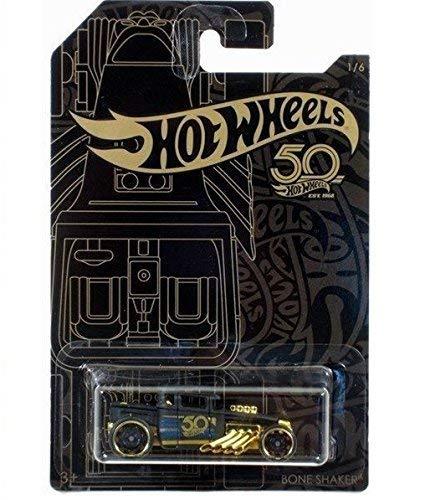 Hot Wheels 2018 50th Anniversary Black & Gold Series 1/64 Scale Diecast Model (Bone Shaker)