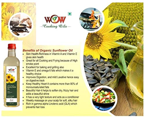 5162KUDDzGL - WOW Cooking Oils Certified Organic Cold Pressed Black Mustard Seed & Sunflower Cooking Oil - 425 ml x 2 Combo with Free 55 GMS Raw Jamun Forest Honey