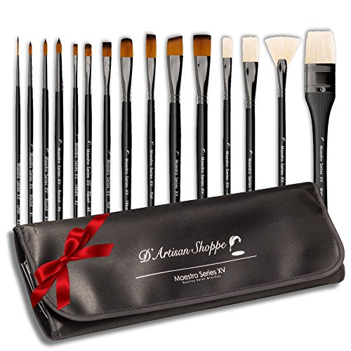 Paint Brushes for Acrylic Watercolor Oil Gouache Paint. Best Art Supplies Painting Brush Set. Professional 15pc Paintbrushes for Artists with Carry Case Travel Kit.