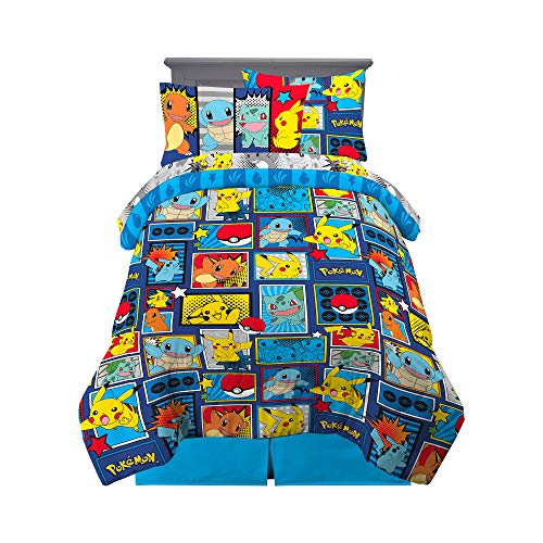 Franco Kids Bedding Super Soft Comforter and Sheet Set with Sham, 5 Piece Twin Size, Pokemon