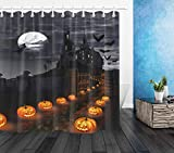 LB Halloween Theme Magical Castle Shower Curtain with Pumpkins Lantern Witch Flying in Moon Night with Bat Funny Halloween Bathroom Set with 12 Hooks,72x72 Inch