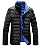 ZSHOW Men's Lightweight Stand Collar Packable Down Jacket(Black,X-Large)