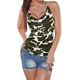 QueenBB Women's Sleeveless V Neck Camouflage Tank Tops Loose Casual Sleeveless Shirts Blouses