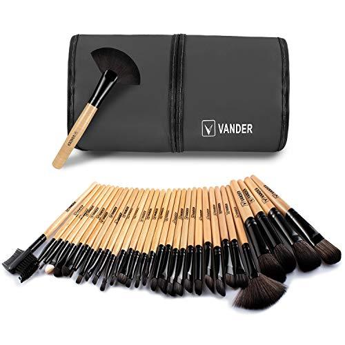 Makeup Brush Set, Vander 32 Pieces Professional Makeup Brushes Essential Cosmetics With Case, Face Eye Shadow Eyeliner Foundation Blush Lip Powder Liquid Cream Blending Brush-Black