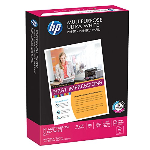 HP Printer Paper, Multipurpose20, 11x17 Paper, Ledger Size, 20lb Paper, 96 Bright, 500 Sheets / 1 Ream (172001R) Acid Free Paper