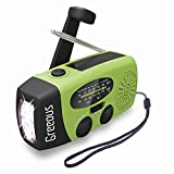 Hurricane Radio Weather Radios,FM/AM/NOAA Survival Radio with Hand Crank Solar Powered,Waterproof Portable Emergency Cellphone Charger,Flashlight,Hurricane kit,1200mAh,Green,Greeous