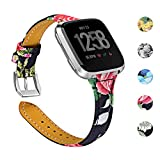 Joyozy Genuine Leather Bands Compatible with Fitbit Versa &New Fitbit Versa Lite Smartwatch,Replacement for Accessories Fitness Strap Women Men(5.5'-7.8')