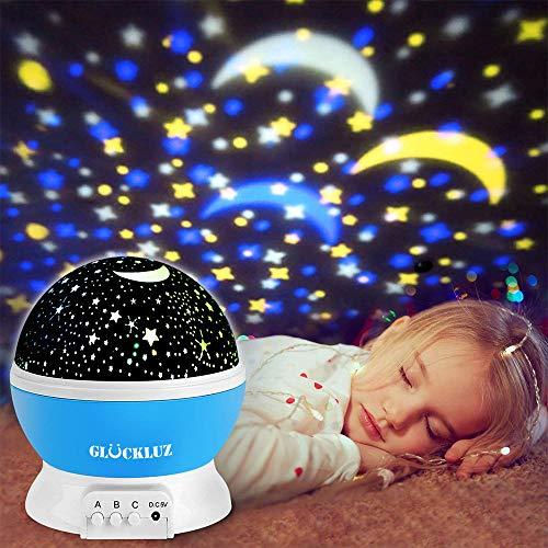 Glückluz Iluminación Infantil Proyector Lampara de Estrellas de 360 Grados Romántica Cosmos Luna...
