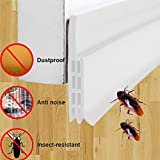 Adhesive Door Bottom,Bagvhandbagro Under Door Sweep Weather Stripping,2' Width x 39' Length Seal Strip door draft stopper,for Anti-Noise,Anti-dust,Kill insects (white)