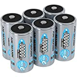 ANSMANN Rechargeable D Batteries 10.000mAh maxE ready2use NiMH Professional D Battery pre-charged Power Accu for flashlight (6-Pack)