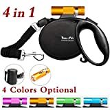 Happy & Polly Retractable Dog Leash Retractable Dog Leash Retractable with Detachable Flashlight/Bungee Dog Leash/Poop Bag Holder for Medium Small Dogs (Golden)