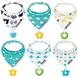 Baby Bandana Drool Bibs 6-Pack and Teething Toys 6-Pack Made with 100% Organic Cotton, Super Absorbent and Soft Unisex (Vuminbox) (6 PCS)