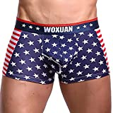 Stoota Flag Sexy Striped Underwear, Men's Boxer Briefs Shorts Bulge Pouch Underpants Red