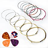 Acoustic Guitar Strings, Kinbom 2 Sets of 6 Medium Guitar Strings, 1 Gold and Silver Pack with 1 Color mixture Pack (Gift: 4 Picks)