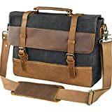 WOWBOX 15.6 Inch Messenger Bag for Mens Waxed Waterproof Canvas Genuine Leather Laptop Messenger Bags Men Business Briefcase Vintage Large Shoulder Bag School College Satchel (Gray)