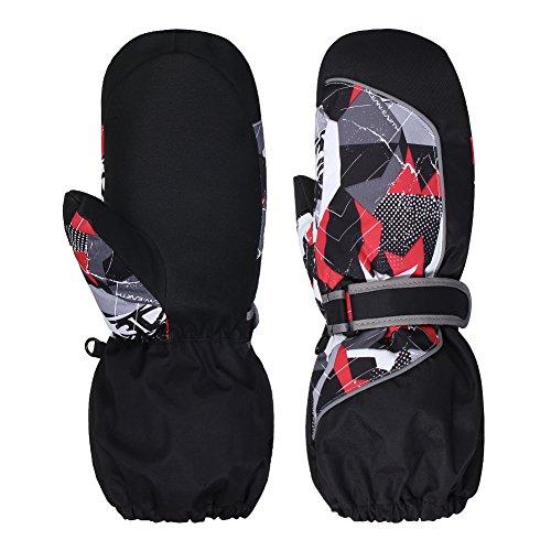 WATERFLY Winter Gloves for Kids Snow Gloves Warm Waterproof Windproof Ski Gloves (Child-black)