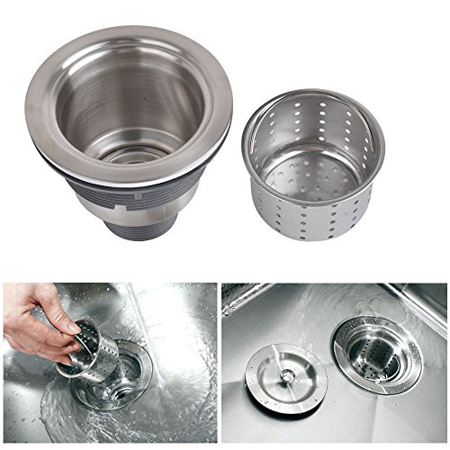 Excellent Kone 3 1 2 Inch Kitchen Sink Strainer With Removable Deep Waste Basket Strainer Assembly Sealing Lid Stainless Steel Interior Design Ideas Inamawefileorg