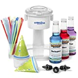 S700 Snow Cone Machine, 25 Snow Cone Cups, 25 Spoon Straws, Black Bottle Pourers | Snow Cone Machine and Syrup Party Package by Hawaiian Shaved Ice