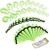 BodyJ4You 73PC Gauges Kit Ear Stretching Aftercare Balm 14G-00G Green Acrylic Teardrop Tapers Plugs