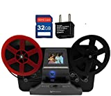 Wolverine 8 mm & Super 8 Reels Movie Digitizer w/ 2.4' LCD (Film2Digital MovieMaker) Includes 32GB SD Memory Card & Worldwide 100-240V AC Adapter & International Two-Prong Round Pin Plug Adapter