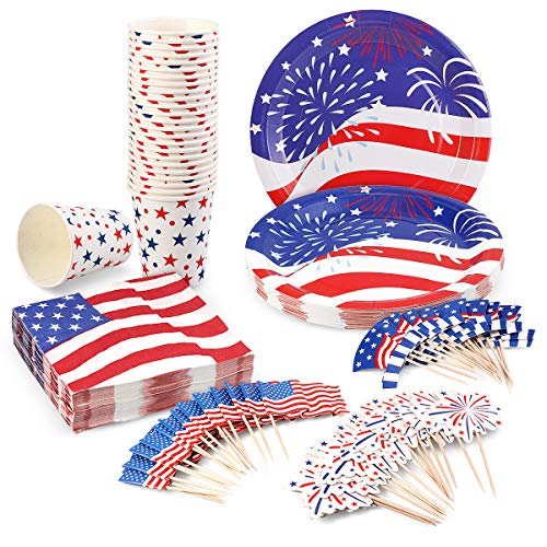 July 4th Decorations Disposable Dinnerware Set for Fourth of July Party Supplies Independence Day Decorations - 25 Plates, 25 Cups, 50 Napkins and 50 Cupcake Toppers(3 Styles) Included