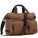 15 Inch Laptop Bag,Sheng TS Hybrid Multifunction Briefcase Messenger Bag Versatile Laptop Backpack with Shoulder Strap Canvas BookBag for Men,Women,College Students (Vintage Brown Canvas,15.6 inch)