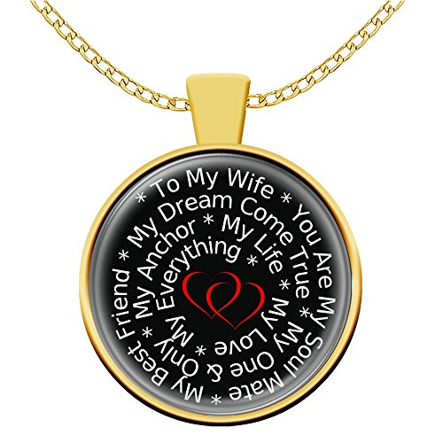 Love My Wife Necklace Pendant Gift Gold