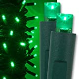 Green LED Christmas Mini String Light Set, 50 Lights, 17 ft Indoor/Outdoor Green Christmas Lights Decorations St. Patricks Day Halloween Deorations Outdoor Party Home Christmas Tree Lights, 4' Spacing